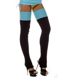 HIGH LEG WARMERS BLACK/BLUE