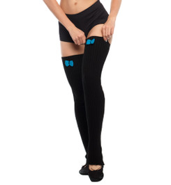 HIGH LEG WARMERS WITH BOW-KNOT BLACK/LIGHT BLUE