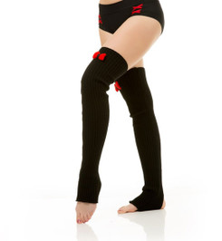 HIGH LEG WARMERS WITH BOW-KNOT BLACK/RED